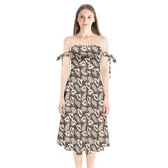 Dried Leaves Grey White Camuflage Summer Shoulder Tie Bardot Midi Dress by Mariart