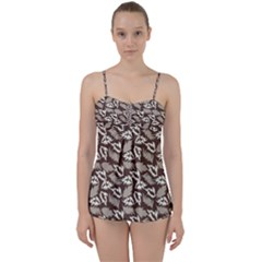 Dried Leaves Grey White Camuflage Summer Babydoll Tankini Set by Mariart