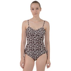 Dried Leaves Grey White Camuflage Summer Sweetheart Tankini Set by Mariart