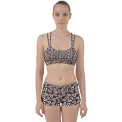 Dried Leaves Grey White Camuflage Summer Women s Sports Set by Mariart