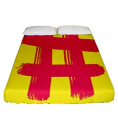 Fun Ain t Gone Fence Sign Red Yellow Flag Fitted Sheet (queen Size)