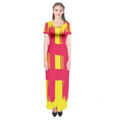 Fun Ain t Gone Fence Sign Red Yellow Flag Short Sleeve Maxi Dress