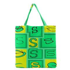 Letter Huruf S Sign Green Yellow Grocery Tote Bag by Mariart