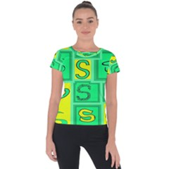 Letter Huruf S Sign Green Yellow Short Sleeve Sports Top