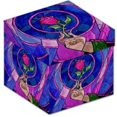 Enchanted Rose Stained Glass Storage Stool 12   by Onesevenart