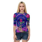 Enchanted Rose Stained Glass Quarter Sleeve Raglan Tee