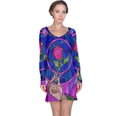 Enchanted Rose Stained Glass Long Sleeve Nightdress by Onesevenart