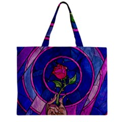 Enchanted Rose Stained Glass Zipper Mini Tote Bag by Onesevenart