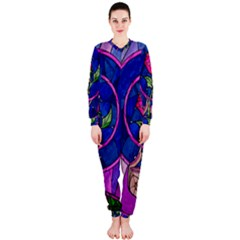 Enchanted Rose Stained Glass Onepiece Jumpsuit (ladies)  by Onesevenart