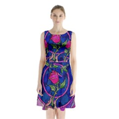 Enchanted Rose Stained Glass Sleeveless Waist Tie Chiffon Dress by Onesevenart