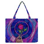Enchanted Rose Stained Glass Zipper Medium Tote Bag