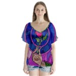 Enchanted Rose Stained Glass V-Neck Flutter Sleeve Top