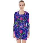 Enchanted Rose Stained Glass V-neck Bodycon Long Sleeve Dress