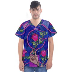 Enchanted Rose Stained Glass Men s V Neck Scrub Top by Onesevenart