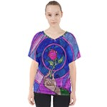 Enchanted Rose Stained Glass V-Neck Dolman Drape Top