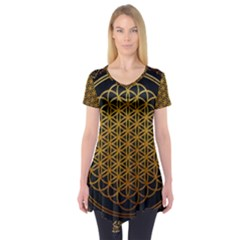 Bring Me The Horizon Cover Album Gold Short Sleeve Tunic  by Onesevenart