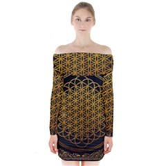 Bring Me The Horizon Cover Album Gold Long Sleeve Off Shoulder Dress by Onesevenart