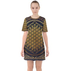 Bring Me The Horizon Cover Album Gold Sixties Short Sleeve Mini Dress by Onesevenart