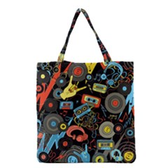 Music Pattern Grocery Tote Bag by Onesevenart