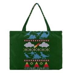 My Grandma Likes Dinosaurs Ugly Holiday Christmas Green Background Medium Tote Bag by Onesevenart