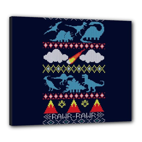 My Grandma Likes Dinosaurs Ugly Holiday Christmas Blue Background Canvas 24  X 20  by Onesevenart