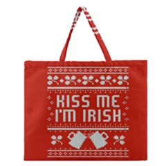 Kiss Me I m Irish Ugly Christmas Red Background Zipper Large Tote Bag by Onesevenart
