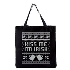 Kiss Me I m Irish Ugly Christmas Black Background Grocery Tote Bag by Onesevenart