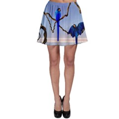 Wonderful Blue  Parrot Looking To The Ocean Skater Skirt by FantasyWorld7