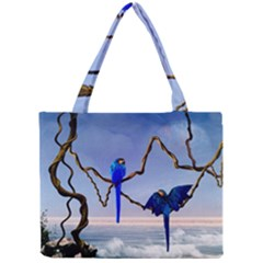 Wonderful Blue  Parrot Looking To The Ocean Mini Tote Bag by FantasyWorld7