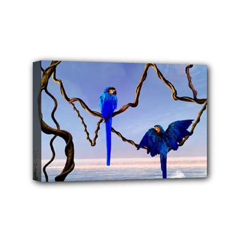 Wonderful Blue  Parrot Looking To The Ocean Mini Canvas 6  X 4  by FantasyWorld7