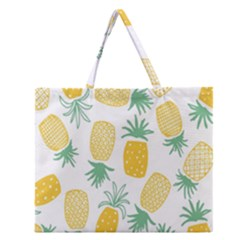 Pineapple Fruite Seamless Pattern Zipper Large Tote Bag by Mariart