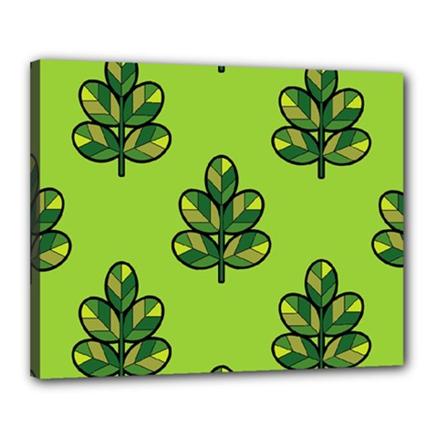 Seamless Background Green Leaves Black Outline Canvas 20  X 16  by Mariart