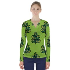 Seamless Background Green Leaves Black Outline V Neck Long Sleeve Top by Mariart