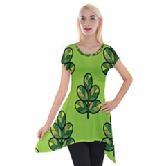 Seamless Background Green Leaves Black Outline Short Sleeve Side Drop Tunic by Mariart