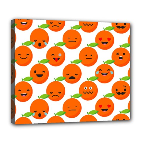 Seamless Background Orange Emotions Illustration Face Smile  Mask Fruits Deluxe Canvas 24  X 20   by Mariart