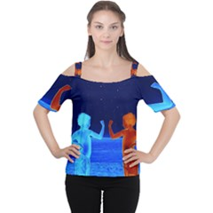 Space Boys  Cutout Shoulder Tee by Valentinaart