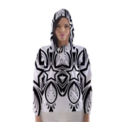Star Sunflower Flower Floral Black Hooded Wind Breaker (women) by Mariart