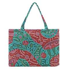 Recursive Coupled Turing Pattern Red Blue Zipper Medium Tote Bag by Mariart