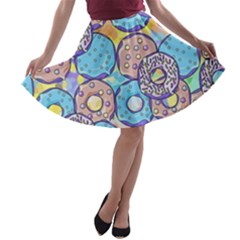 Donuts Pattern A Line Skater Skirt by ValentinaDesign