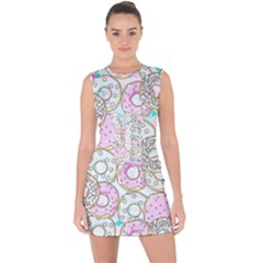 Donuts Pattern Lace Up Front Bodycon Dress by ValentinaDesign