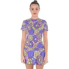 Donuts Pattern Drop Hem Mini Chiffon Dress