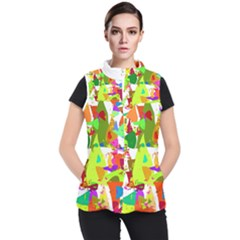 Colorful Shapes On A White Background                       Women s Puffer Vest