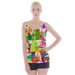 Colorful Shapes On A White Background                            Criss Cross Back Tank Top
