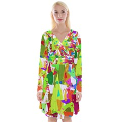 Colorful Shapes On A White Background                                Long Sleeve Front Wrap Dress
