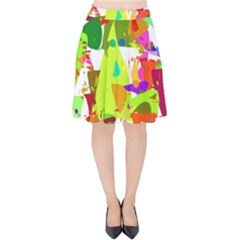Colorful Shapes On A White Background                       Velvet High Waist Skirt by LalyLauraFLM