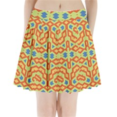 Bcvst0098c Yellow Green Blue Beige Pleated Mini Skirt by CircusValleyMallDresses