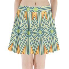 Ccvst0098 Yellow Orange Green Blue Rays Pleated Mini Skirt