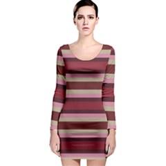 Cvst0096 Pink Brown Beige Maroon Stripes Long Sleeve Bodycon Dress by CircusValleyMallDresses
