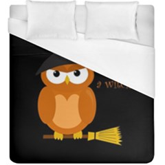 Halloween Orange Witch Owl Duvet Cover (king Size) by Valentinaart