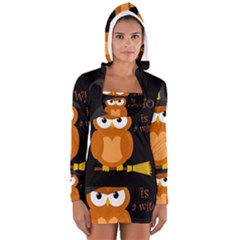 Halloween Orange Witch Owl Long Sleeve Hooded T Shirt by Valentinaart